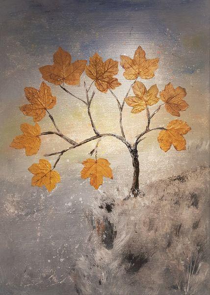 Mischtechnik, Malerei, Natur, Baum, Surreal, Il