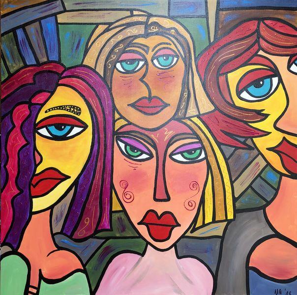 Frau, Abstrakt, Körper, Malerei, Menschen, Gesicht