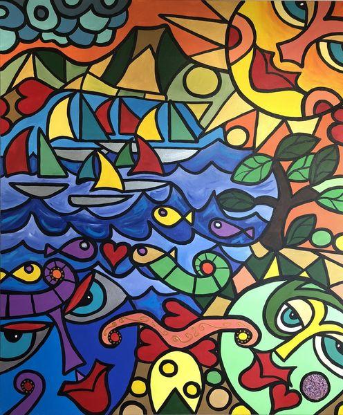 Schiff, Malerei, Tiere, Körper, Stadt, Abstrakt