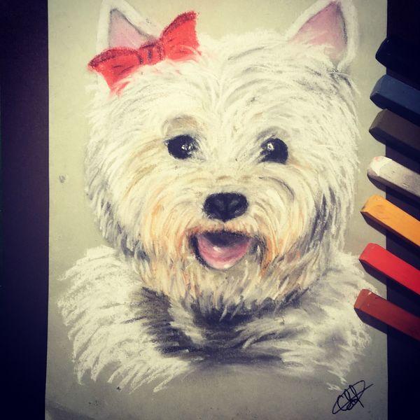 Hund, Tiere, Terrier, Malerei