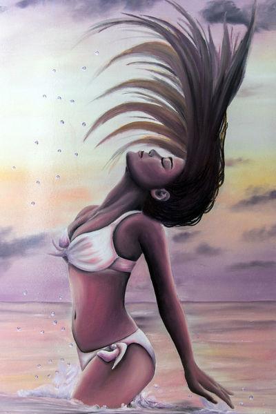 Frau, Urlaub, Ölmalerei, Haare, Strand, Meer