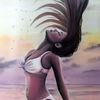 Frau, Urlaub, Ölmalerei, Haare