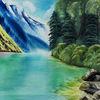 Natur, See, Ölmalerei, Berge