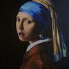 Reproduktion, Perlenohrring, Mädchen, Portrait