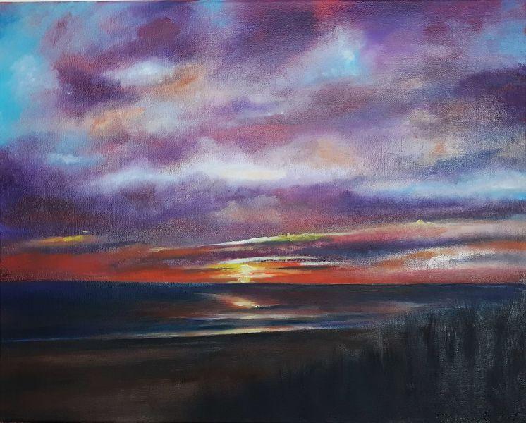 Sonnenuntergang, Natur, Das meer, Malerei