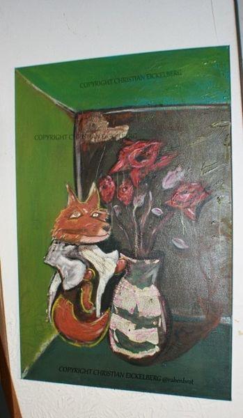 Rose, Crazyness, Acrylmalerei, Fuchs, Collage, Malerei
