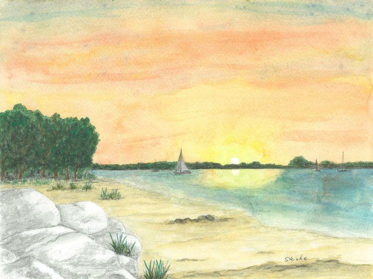 Sonne, Förde, Stein, Segelboot, Sonnenuntergang, Flensburger förde