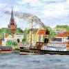 Zeichnung, Flensburg, Hafen, Flensburger förde