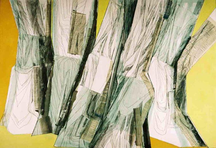 Baum, Struktur, Collage, Rheinparkgrazien, Zeichnungen