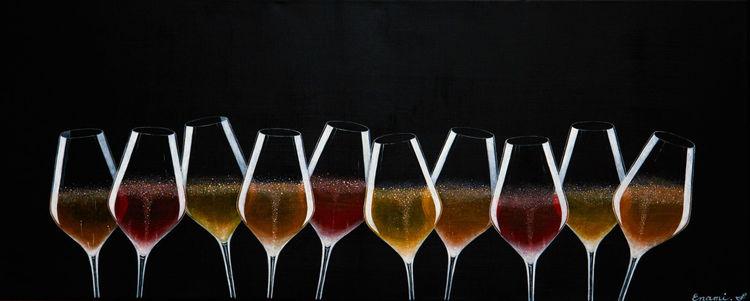 Sekt, Wein, Champagner, Acrylmalerei, Stillleben, Fest