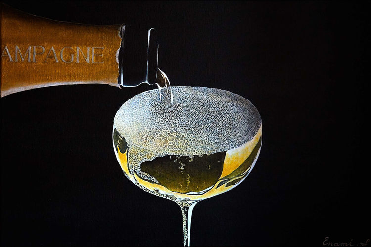 Sekt, Weinglas, Champagner, Luxus, Weinflasche, Acrylmalerei