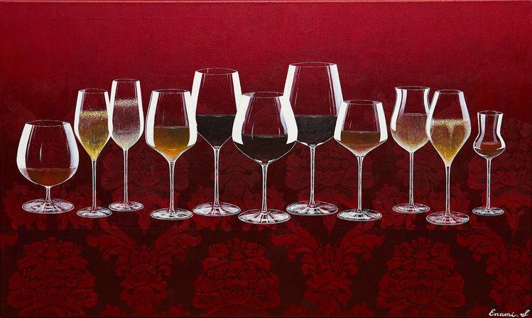 Wein, Rotwein, Schaumwein, Weißwein, Champagner, Acrylmalerei