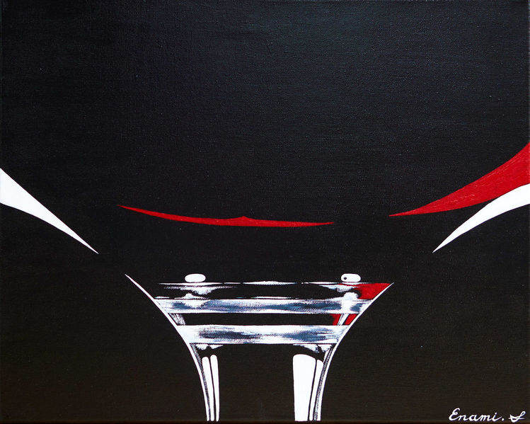 Rotwein, Wein, Schwarz, Weinglas, Acrylmalerei, Malerei