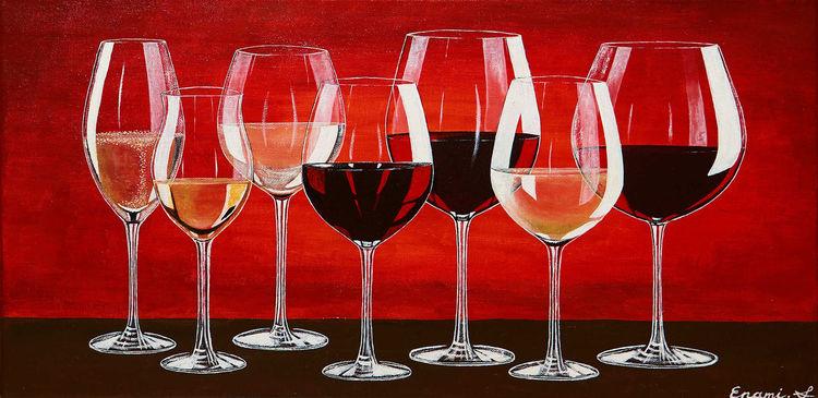 Wein, Acrylmalerei, Rotwein, Weißwein, Weinglas, Rot