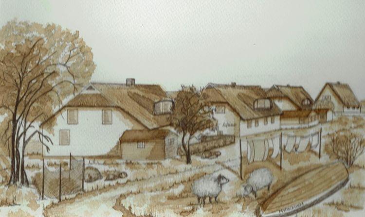 Ostsee, Hiddensee, Neuendorf, Aquarell,