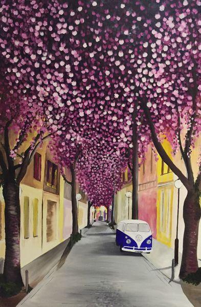 Bonn, Heerstraße, Vw, Kirschblütenfest, Bulli, Malerei