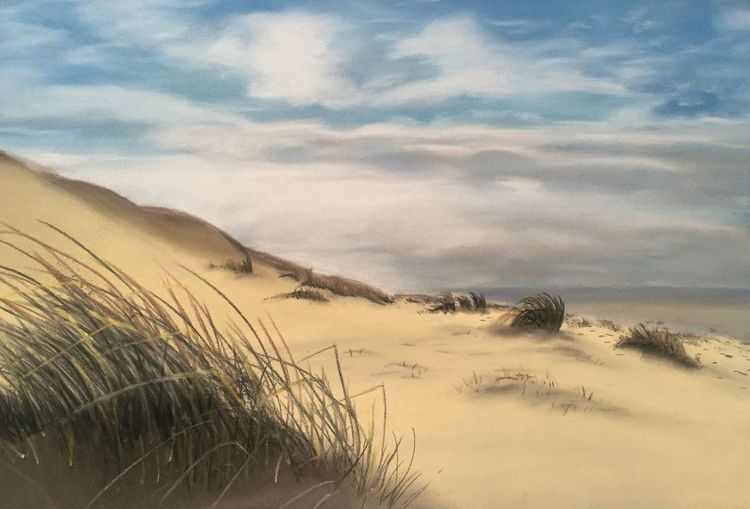 Strand, Himmel, Westende, Dünen, Langeoog, Malerei