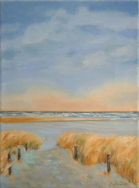 Langeoog, Licht, Dünen, Landschaftsmalerei, Himmel, Abend