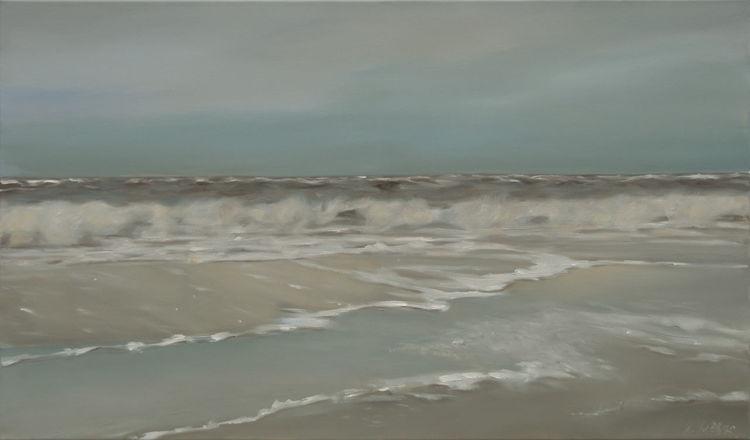 Landschaftsmalerei, Gischt, Langeoog, Meer, Himmel, Urlaub