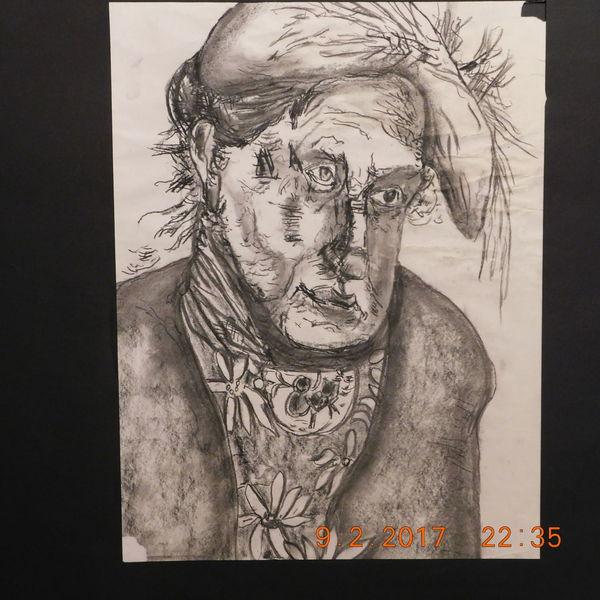 Portrait, Zeichenkohle, Charakterköpfe, Zeichnungen