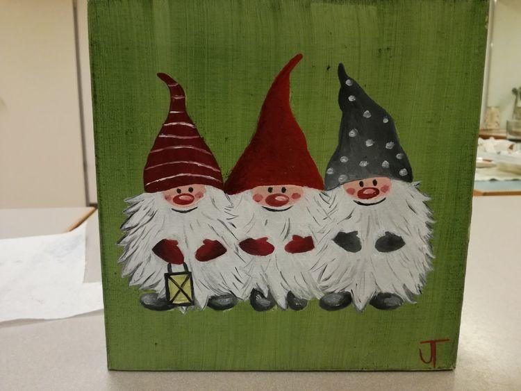 Ölmalerei, Weihnachten, Wichtel, Malerei