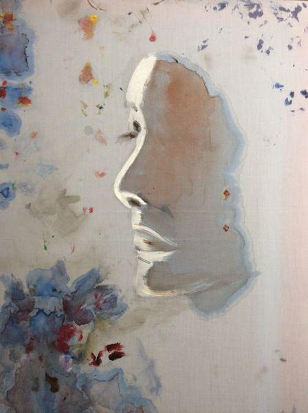 Frau, Blau, Licht, Malerei, Schatten