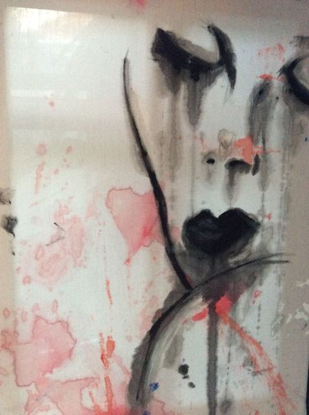 Frau, Traurig, Tränen, Portrait, Malerei, Sehnsucht