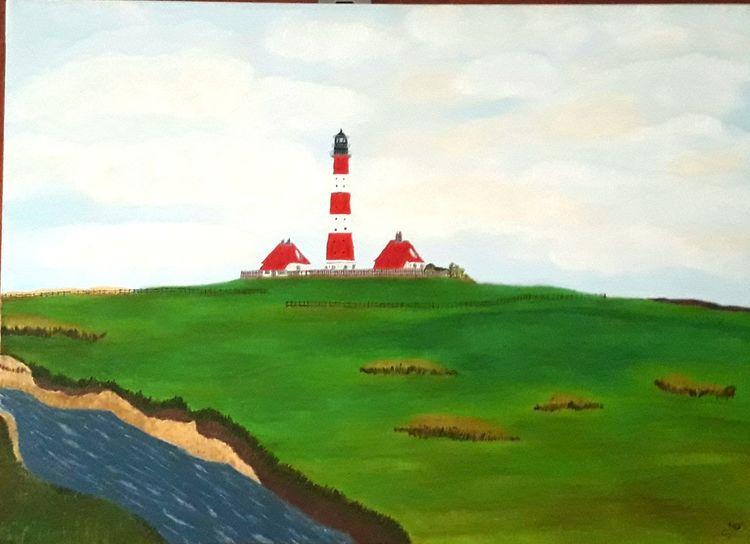 Leuchtturm, Landschaft, Malerei