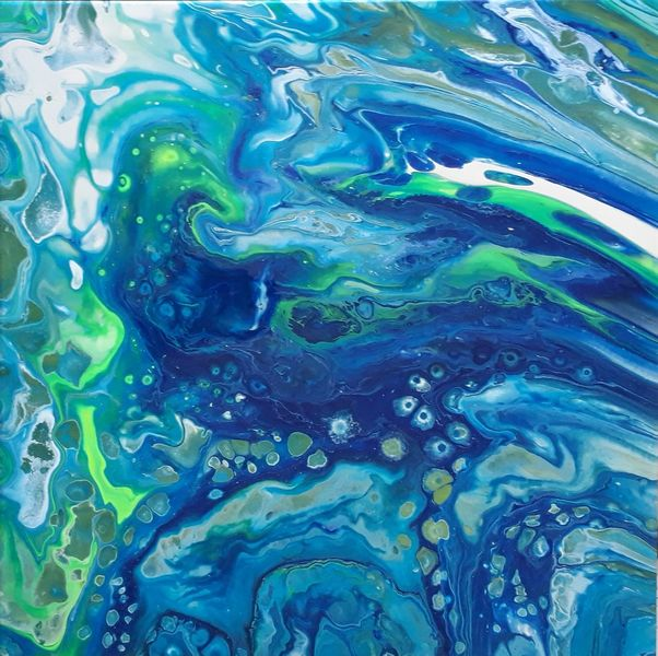 Grün, Türkis, Blau, Malerei, Pouring
