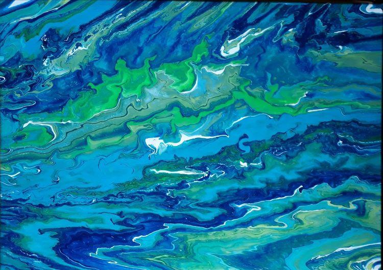 Weiß, Grün, Blau, Malerei, Abstrakt
