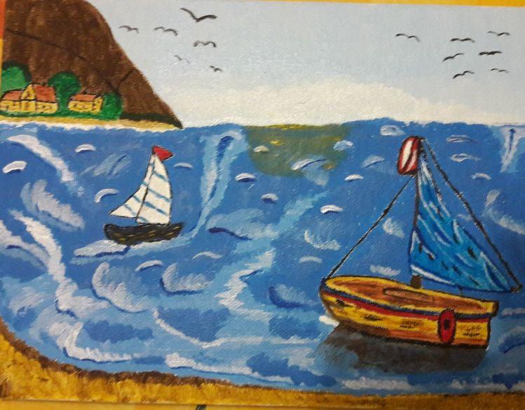 Wasser, Segelboot, Meer, Malerei