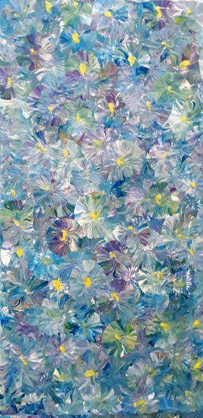 Gelb, Lila, Blau, Malerei