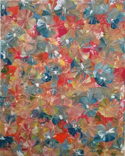 Blau, Blumen, Rot, Malerei