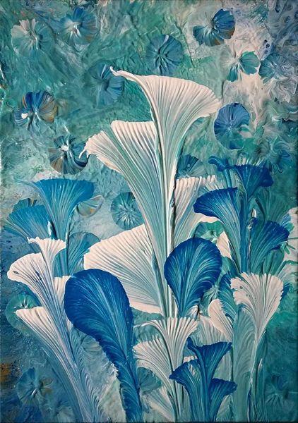 Blau, Blumen, Weiß, Malerei, Abstrakt