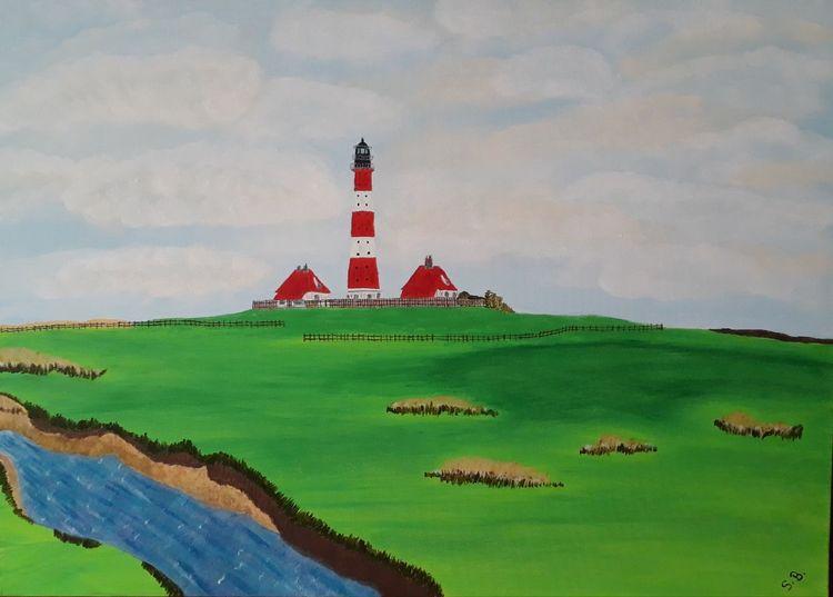Landschaft, Wasser, Leuchtturm, Malerei