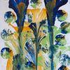Grün, Blau, Malerei, Technik