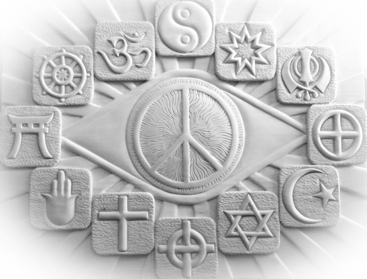 Kerber carving art, Peace religions, Mischtechnik, Figural, Lindenholz, Holzschnitt