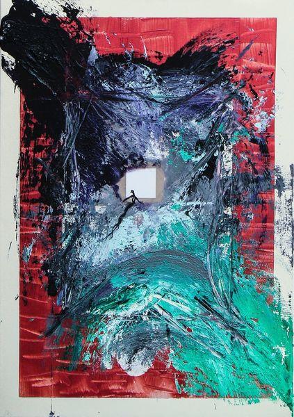 Rot schwarz, Grün, Malerei, Blau, Surreal, Abstrakt
