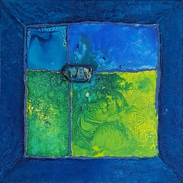 Glas, Blau, Fusing, Malerei, Spiegel