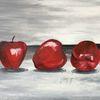 Rot, Acrylmalerei, Stillleben, Apfel