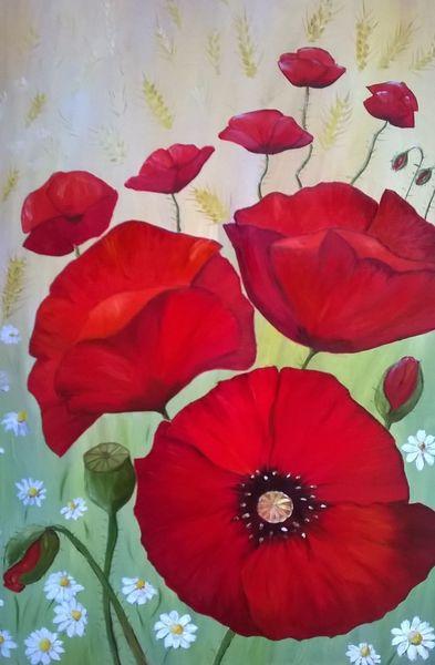 Blumen, Malerei, Mohnblumen, Flora
