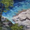 Küste, Ölmalerei, Meer, Malerei