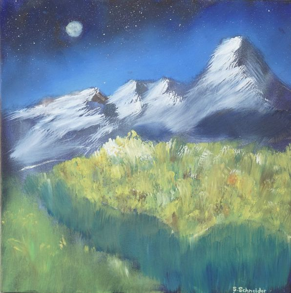 Nacht, Stern, Alpen, Wiese, Berge, Bach