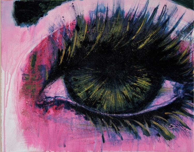 Gold, Wimpern, Augen, Pink, Malerei