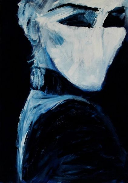 Rebellisch, Blau, Frau, Malerei,