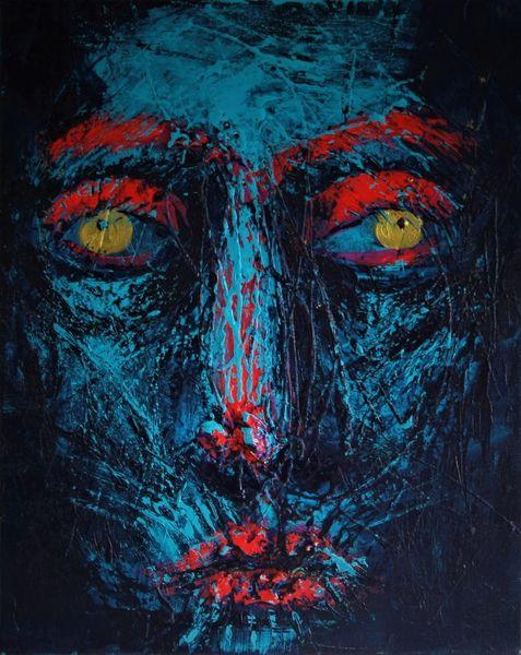 Alt, Falten, Gruselig, Blau, Malerei