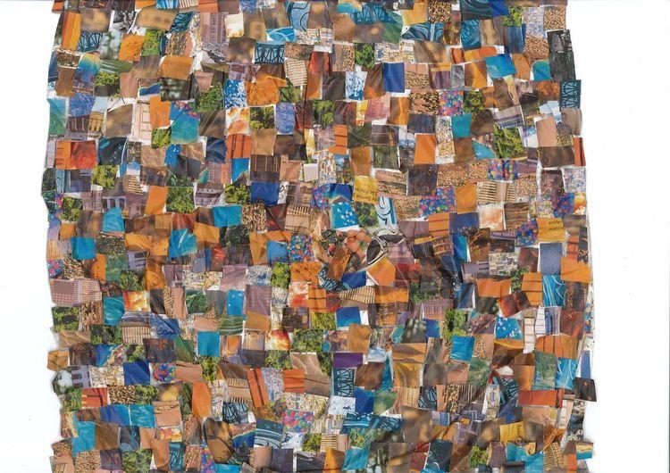 Collage, Bunt, Farben, Mischtechnik, Blick