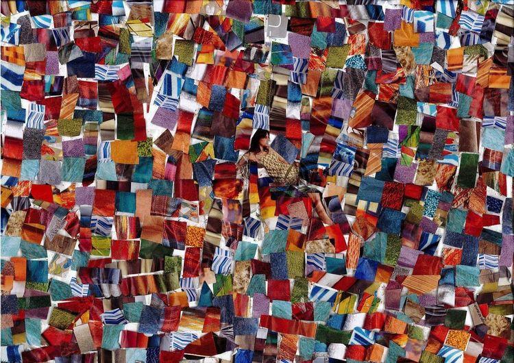 Bunt, Farben, Collage, Mischtechnik, Flora, Retro