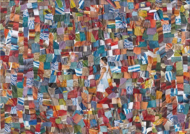 Collage, Bunt, Farben, Mischtechnik, Wand