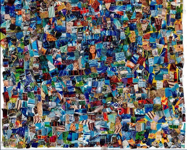 Blau, Farben, Collage, Bunt, Mischtechnik